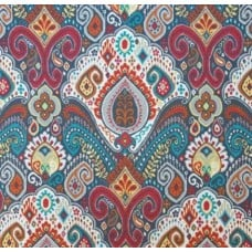 REMNANT - Boho Indoor Outdoor Fabric in Red and Turquoise