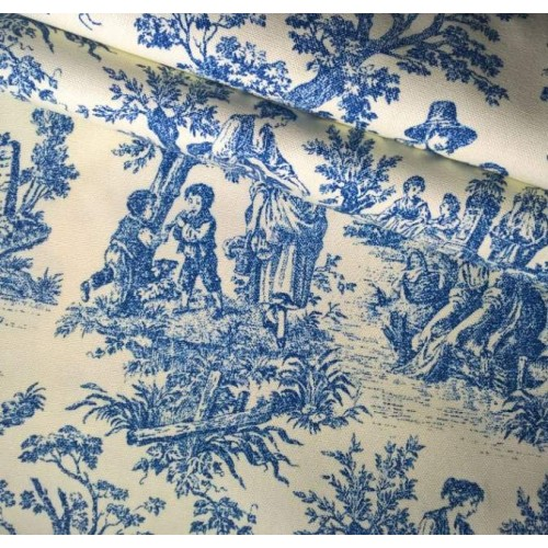 Charmed Life Toile Cornflower Blue And Ivory Home Decor Fabric By