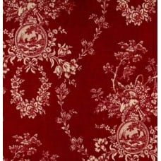 Toile Country Home Decor Fabric in Elegant Red