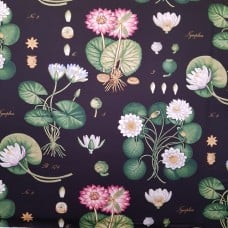 Luxury Lotus Home Decor Sateen Onyx Fabric by Waverly