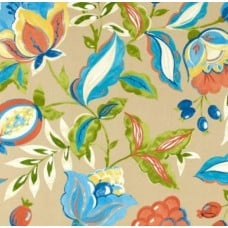 Modern Poetic Outdoor Fabric in Blue and Sand by Waverly Fabric Traders