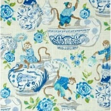 Monkey Fun Home Decor Fabric in Blue by Waverly