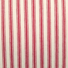 Ticking Stripe Traditional Luxe Cotton Fabric Red and Cream
