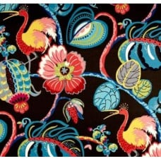 Tropical Fete Basketweave Home Decor Fabric by Waverly in Black