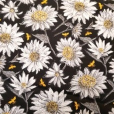 A Bee's Life Flowering Blooms on Black Cotton Fabric by Wilmington