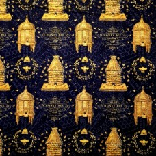 A Bee's Life Hives on Black Cotton Fabric by Wilmington