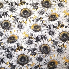 A Bee's Life Flowering Blooms Large on Black Cotton Fabric by Wilmington