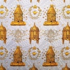 A Bee's Life Hives on Grey Cotton Fabric by Wilmington