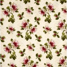 Flannel Ivory and Red Flowers Cotton Fabric Fabric Traders