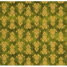 Pineapple Stamps in Green Cotton Fabric Fabric Traders