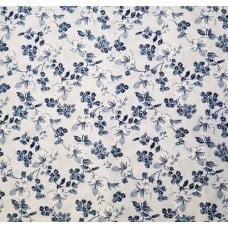 Floral Blossoms in White And Blue Cotton Fabric Fabric Traders