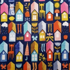 Little Town Houses Cotton Fabric