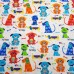 Flannelette Dogs Cotton Fabric On White Fabric Traders