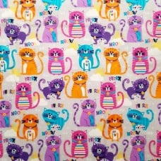 Flannelette Cats Cotton Fabric On Grey