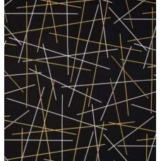 Gold Metallic Pick Up Sticks in Black Cotton Fabric