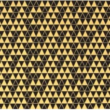 REMNANT - Gold Metallic Triangle Grid in Black Cotton Fabric
