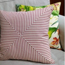 Cushion Cover - Ticking Stripe Indoor Fabric Red Cream