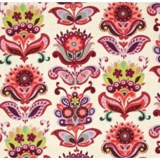 REMNANT - Bright Heart Folk Bloom Natural Cotton Fabric by Amy Butler