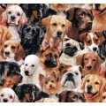 Dog Breeds Packed Dogs Cotton Fabric