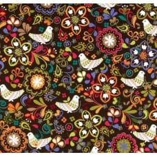 Birds of Norway Espresso Cotton Fabric by Michael Miller
