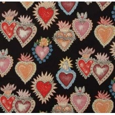 Folk Lorico Almay Corazon Black Multi Tea Cotton Fabric by Alexander Henry