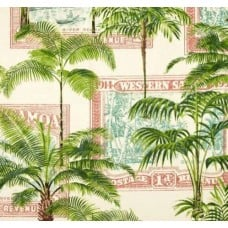 Key Largo Palms in Red Samoa Outdoor Fabric