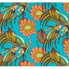 Flock Together Chatting Birds Contrast Cotton Fabric by Kathy Doughty