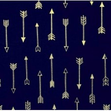 Arrow Flight Metallic Arrows Navy by Michael Miller
