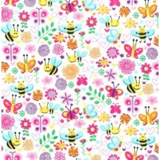 Busy Bee Pink Cotton Fabric by Michael Miller