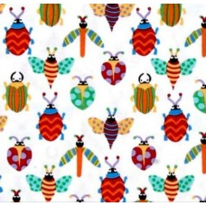 REMNANT - Creepy Crawlies Pesky White Cotton fabric by Michael Miller