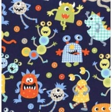 Its a Boy Thing Monster Mash Navy Cotton Fabric by Michael Miller