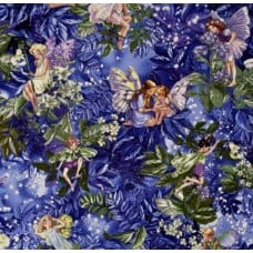Night Flower Fairies Cotton Fabric Purple by Michael Miller