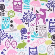 Retro Forest Life Orchid Cotton Fabric by Michael Miller