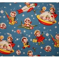 Retro Rocket Rascals Cotton Fabric Multi by Michael Miller