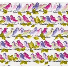 Veranda Song Birds Orchid Cotton Fabric by Michael Miller
