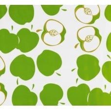 Mexican Oilcloth Laminated Fabric Apple Toss Green