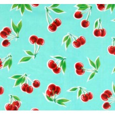 Mexican Oilcloth Laminated Fabric Cherries Aqua