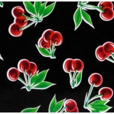 REMNANT - Mexican Oilcloth Laminated Fabric Cherries Black