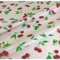 Mexican Oilcloth Laminated Fabric Cherries White