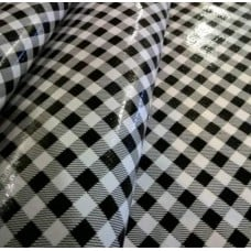 Mexican Oilcloth Laminated Fabric Gingham Black