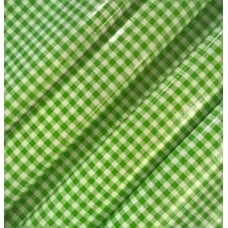Mexican Oilcloth Laminated Fabric Gingham Green