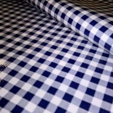 Mexican Oilcloth Laminated Fabric Gingham Navy Blue