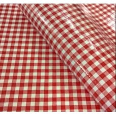 Mexican Oilcloth Laminated Fabric Gingham Red