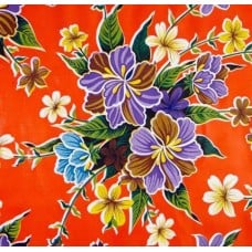 Mexican Oilcloth Laminated Fabric Hibiscus Orange