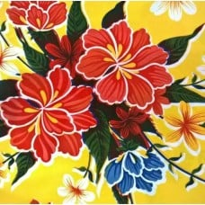 Mexican Oilcloth Laminated Fabric Hibiscus Yellow