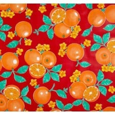 Mexican Oilcloth Laminated Fabric Orange Toss Red