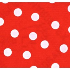 Mexican Oilcloth Laminated Fabric Polka Dots White on Red