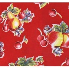 Mexican Oilcloth Laminated Fabric Red Apple and Pears