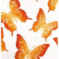Swallowtail Coral Sunshine Indoor Outdoor Fabric by Kaufmann