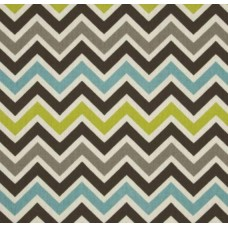 Chevron Zig Zag Grey Teal Natural Home Decor Cotton Fabric